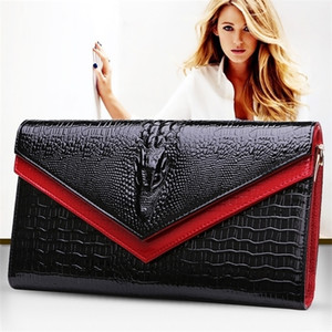 carteras monederos de moda al por mayor-Geserry Cuero genuino Cocodrilo Hombro Trendy Women Clutch Wallet Purse Lady Messenger Bag Q1116