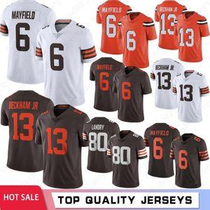 6 Baker Mayfield NCAA Men Football Jerseys 13 Odell Beckham Jr Hot Jerseys 95 Myles Garrett 24 Chubb 80 Landry 2021 New Jerseys