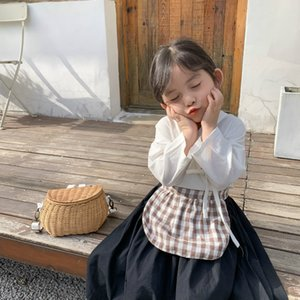 Wholesale girl aprons for sale - Group buy Spring New Arrival Korean style clothing sets three pieces classical coat with skirt and plaid apron for fashion cute baby girls Y200831
