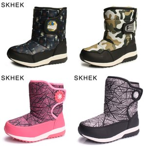 Wholesale snow boats resale online - SKHEK Children s Snow Boots Girls Shoes Winter Waterproof Baby Wool Plush Bota Infantil Warm Non slip Student Black Sport Boats J1209