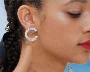 In stock Full Rhinestone Full Pearl Letter Tassel Earrings For Women Fashion Asymmetric Stud Earring Jewelry Gifts
