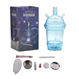 Wholesale hosed water pipes resale online - Starbucks Cup Hookah Pipe Glowing LED Glass Bong Water Hookah Milk Tea Cup Water Pipe Acrylic Dabber with cm Hose