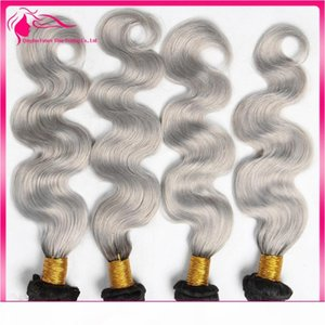 Wholesale sliver prices resale online - Sliver Grey Two Tone Hair Bundles B Grey Ombre Brazilian Human Hair Weaves Body Wave Hair Extensions Cheap Price