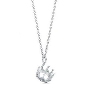 Wholesale chain mails resale online - New High quality s25 Sterling Silver Crown Charm Pendant Necklace Ladies Clavicle Chain Gift Jewelry Free Parcel Mail