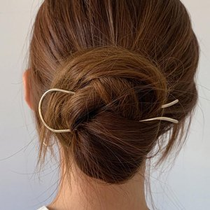 Wholesale very clip resale online - Women Very Simple U Shape Big Hair Stick Geometric Alloy Wire Hair Clip Elegant Gold Silver Holder Retro Accessories