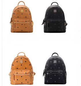 Genuine Leather Style student travel Backpack High Quality men women rivet Backpack famous handbag Designer Girls boys Fashion School Bags