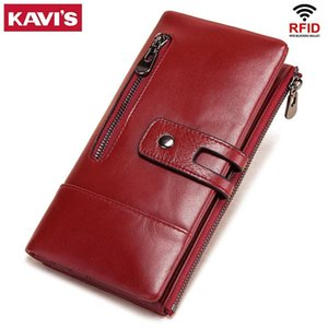 Wholesale walet women resale online - Kavis Large Women Wallets Luxury Long Wallet Fashion Top Quality Genuine Leather Portomonee Rfid Card Holder Walet for Purse C1223