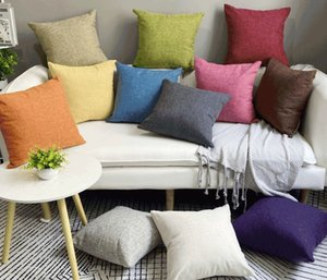 Wholesale pillow bolsters resale online - Plain cotton linen sofa cushion cover thick square bolster solid linen pillow living room back pillow case