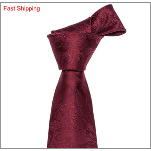 Wholesale red handkerchiefs for sale - Group buy Fast Shipping Mens Tie Wine Red Paisley Polyester Jacquard Woven Tie Set Handkerchief Cuffs Fashion Meetin qylExE queen66