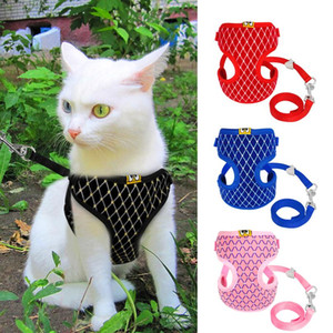 Wholesale harnesses for cats resale online - Cute Dog Cat Harness Vest Breathable Mesh Pet Puppy Harness And Leash Set Small Nylon Soft Pet Chest Strap For Chihua jllHNV