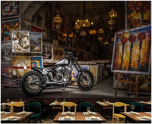fondo de pantalla de la motocicleta al por mayor-Fondo de pantalla D Photo Mural European Nostalgic Retro Street View Motorcycle Decor Decoración D Wall Murales Wallpaper en la sala de estar