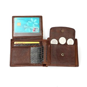 Wholesale leather walet resale online - Genuine Leather Men Wallets Short Slim Male Purses Money Bag Wallet for Man Coin Card Holder Portfolio Murse Walet