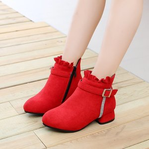 Wholesale black flower kids boots for sale - Group buy Kids Boots For Autumn Winter Girls Shoes Children Fashion Boots For Wedding and Party Shoes Pink Red Black T Y1125