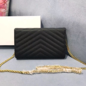 Genuine leather chain purse fashion clutch lady chain shoulder bag cowhide handbag presbyopic card holder purse messenger women Wholesale