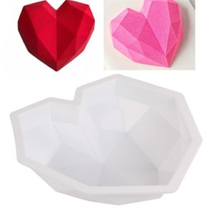 3D Diamond Love Heart Dessert Cake Mould Silicone Art Mold 3D Mousse Baking Pastry Silicone Moule Decoration