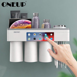 Wholesale bathroom sets for sale - Group buy Magnetic Adsorption Inverted Toothbrush Holder With Toothpaste Squeezer With Cups Bathroom Storage Rack Bathroom Accessories Set