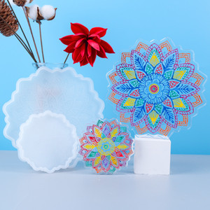 Resin Coaster Molds Textured Flower DIY Epoxy Resin Tray Mold Flower Tea Tray Coaster Epoxy Molds