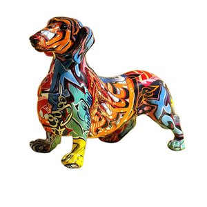 Nordic Painting Graffiti Dachshund Dog Sculpture Figurine Art Animal Statue Creative Resin Crafts Home Decoration