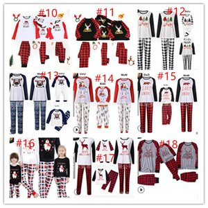 Wholesale santa claus sleepwear for sale - Group buy Buffalo Plaid Christmas Family Pajamas Set Family Matching Two Piece Clothing Reindeer Santa Claus Blouse and Pants Sleepwear CZ111602