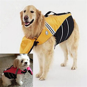 Wholesale safe vest resale online - Adjustable Dog Life Vest Pet Belt Safe Clothing Puppy Jacket Reflective Straps Swimming Clothes Swimwear For Big Large Dogs1