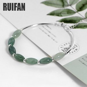 Wholesale silver jade stone sets for sale - Group buy Ruifan Natural Stone Green Jade Silver Original Bangle Bracelet for Women Female Girl Lucky Fine Jewelry Accessories YBR098 Q1201