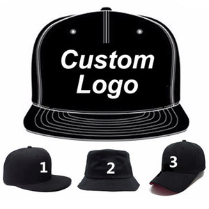 Wholesale custom trucker caps resale online - Low MOQ custom cap embroidery trucker golf tennis hiphop hat full close fitted custom snap closer baseball cap custom hat LJ200916