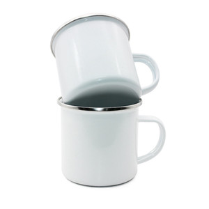 Wholesale enamel mug cup for sale - Group buy Sublimation Enamel Coffee Mug oz Camping Mug Metal Blank Coffee Cup Enamel Steel Tumblers Sea Shipping HHA1715