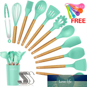 Wholesale turner kitchen tool for sale - Group buy 12 Piece Silicone Cooking Utensils Set Bamboo Wooden Handles Cooking Spoon Turner Tongs Spatula Kitchen Ware Tools with Holder