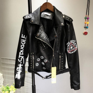 Black Punk Graffiti Faux Leather Jacket Women Autumn Female Slim Short PU Coat Ladies Zipper Rivet Crop Motorcycle Biker Jackets