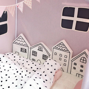 Wholesale kids pink bedding sets resale online - 4Pcs Set Cotton House Shape Baby Bumper Crib Cot Pillow Cushion Soft Kids Bed Pretector Pads Children Room Decor Newborn Gifts1
