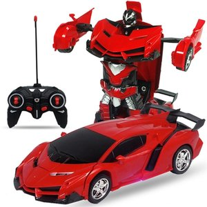Wholesale transform toy resale online - Remote Control One key Automatic Transform Robot Deformation Car Toys Plastic Model Funny Action Figures for Boys Gifts Kid LJ201209