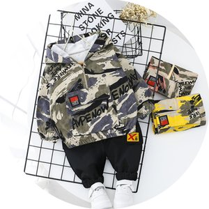 Wholesale baby boy camouflage clothes for sale - Group buy Kid Boy Clothes Camouflage Baby Suit Hooded Camo Top Pants Sport Children Kids Outwear Baby Gifts Newborn Boys Green CY200515