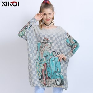 Wholesale jumpers dresses for girls resale online - XIKOI Wool Oversized Sweater For Women Winter Long Pullover Dresses Fashion Girl Print Jumper Casual Knitted Sweaters Pull Femme
