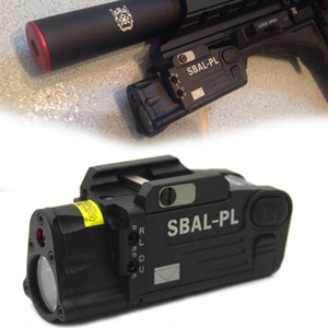 Wholesale tactical light laser for sale - Group buy Constant Strobe Light With Red Laser Pistol Rifle Flashlight Tactical CNC Finished SBAL PL Weapon Light NATO Accessory Rail
