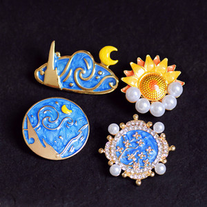ingrosso dipinti di girasole-Nuova spilla in smalto vintage Spumante dipinto olio goccia di perla di sole Sunflower Sun and Moon Brooch Pin Spille di strass Spille Corsage Badge Accessori