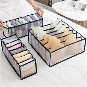 Wholesale drawer organizers for sale - Group buy Bra Storage Boxes Foldable Underwear Clothes Organizer Drawer Nylon Divider Closet Organizer Folding Ties Socks Shorts Organizer GWC4578