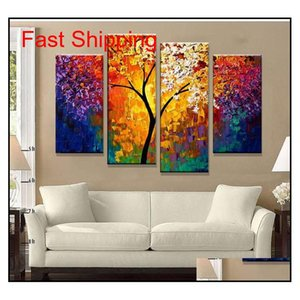 Wholesale paintings canvas abstract trees resale online - Bright Life Tree Picture Painting Handmade Modern Abstract Oil Painting On Canvas Wall Art Home Decoration Gift No Framed Rn4Ws