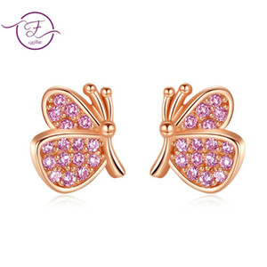 Wholesale children studs for sale - Group buy New Butterfly Earrings Rose Gold Color S925 Sterling Silver Stud Earrings for Women Child Frosted Butterfly Cartilage Ear Studs