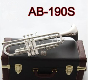 High-quality American AB-190S Trumpet Silver Plated Gold Trumpete Professional Musical Instruments with Beautiful Case free shipping