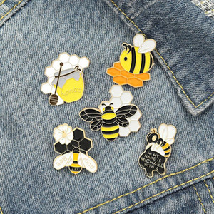 Wholesale jarred jewelry for sale - Group buy Bee Kind Enamel Pin Custom Honeycomb Honey Jar Bee Brooches Bag Lapel Pin Cartoon Badge Jewelry Gift for Kids Friends zdl1210