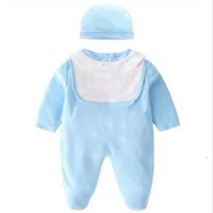 Baby Boy Girl Rompers Jumpsuit Long Sleeved Plaid Infant Jumpsuit+Hat bibs 3Pcs Outfit Kids Newborn Baby Clothes Set 0-24M