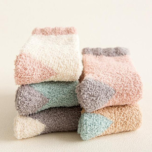 Wholesale bed line resale online - Women Winter Warm Socks Coral Fleece Bed Sleep Socks Lined Slipper Non Slip New Casual Home Floor Sock fuzzy towel sports socks