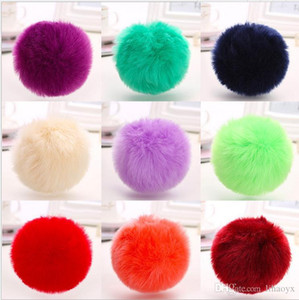 Wholesale chinese keys resale online - Hot lovely CM Rabbit fur ball plush key chain round ball fluffy toy keychain hairy car key ring Bag Pendant car keychain GWE3953