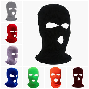 Wholesale full face ski mask resale online - Knitted Full Face Cover Ski Mask Winter Balaclava Warm Wind Proof Outdoor Cycling Sports Full Face Mask HHA1703