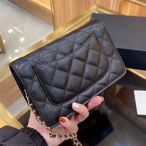 Ladies bags wallet on chain series number woc black mini classic quilted flap crossbody handbags leather clutch bag card holder coin purse