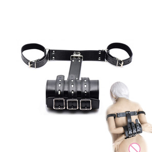 Wholesale toys femdom resale online - Black PU Leather bondage arm handcuffs adult SM game cosplay Sex toys for women BDSM Femdom tools Y201118