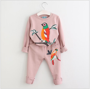 Wholesale bird outfits resale online - 2021 New Spring Autumn Girls Casual Clothing Sets Cartoon Bird Sweatshirt Pants Set Kids Suit Children Outfits
