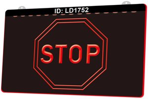Wholesale traffic signs resale online - LD1752 Stop Traffic Signs D Engraving LED Light Sign Colors Retail Free Design