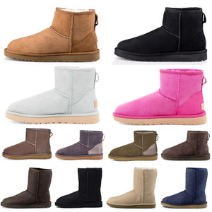 Wholesale women winter boots resale online - 2021 classic mini short shoes bailey bow tall button wgg triplet Australia womens women boot winter snow boots fur Australian furry booties
