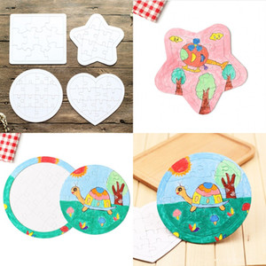 Wholesale painting games for sale - Group buy Paper Colouring Picture Puzzles Sublimation Blank DIY White Kids Game Gift Jigsaws Children Painting Round Square Toy Types xj G2